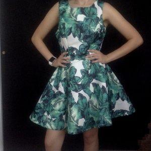 Lulu's  Green Palm Leaf Printed Dress #350